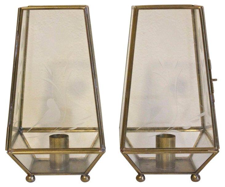 Glass & Brass Candleholders, Pair