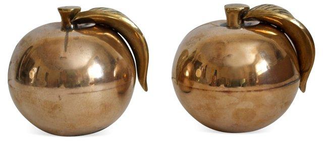Large Brass Apples, Pair