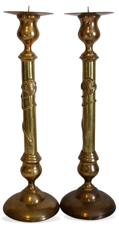 Art Nouveau-Style Candleholders, Pair