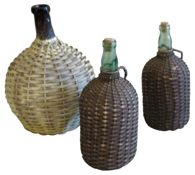 1930s Italian Wine Bottles, Set of 3