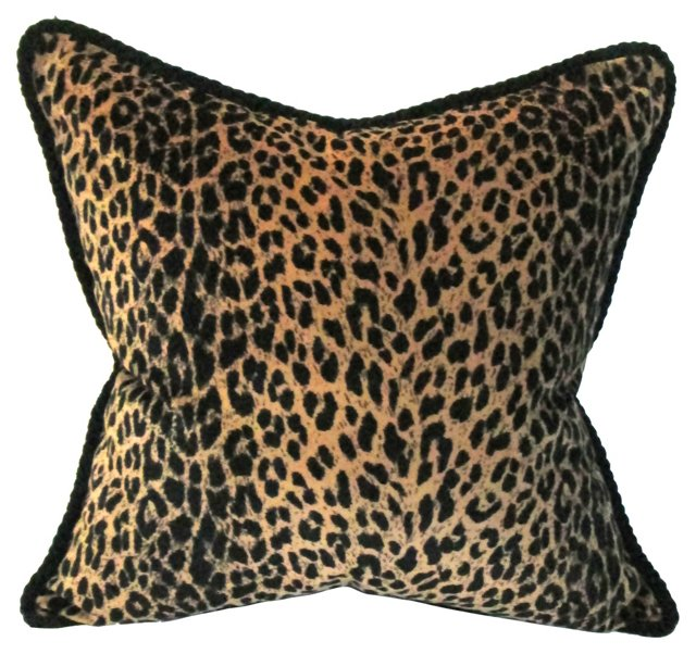 Leopard Print Pillow w/ Rope Flange