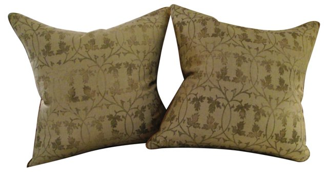 Ivy Pattern Bennison Pillows, Pair