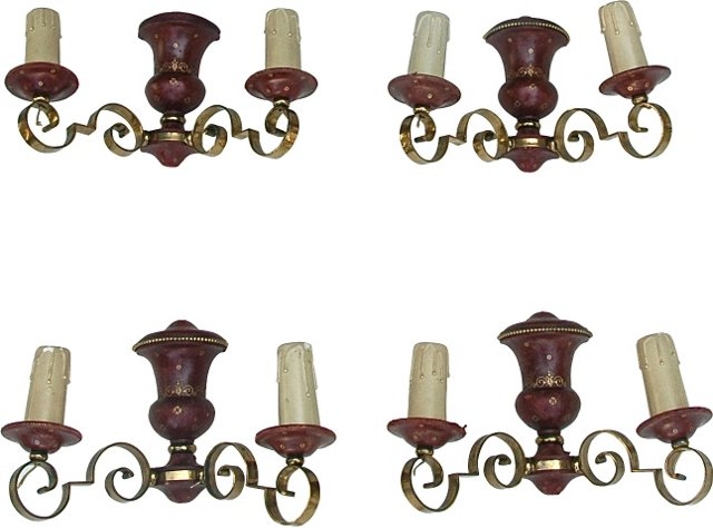 Italian Leather Sconces, Set of 4