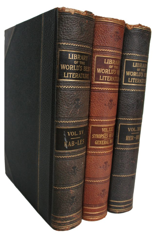 19th-C. Leather     Books, S/3