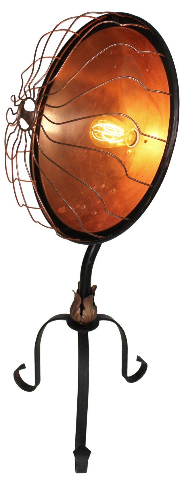 Early-1900s Copper Pedestal Floor Lamp