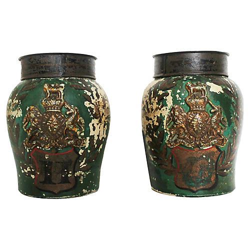 Stoneware Tobacco Jars, pair