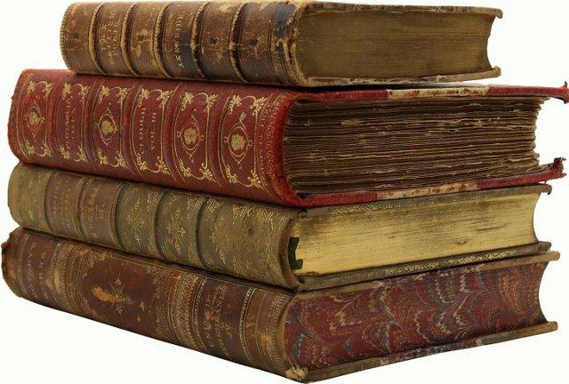 Decorative Leather-Bound Books, S/4