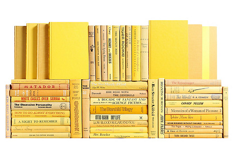 Midcentury Yellow Book Wall, S/75