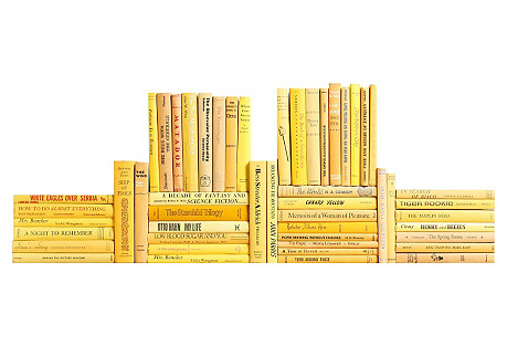 Midcentury Yellow Book Wall, S/50