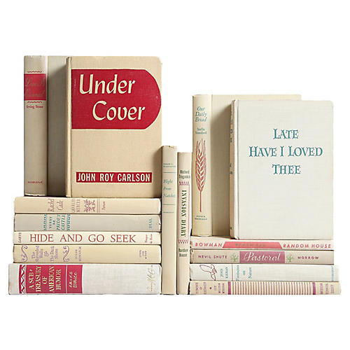Midcentury Flax & Cassis Bookshelf, S/15