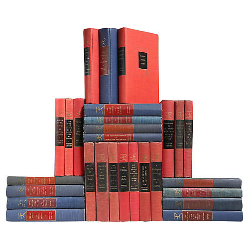 Modern Library Mix in Red & Blue, S/28