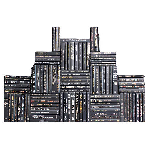 Black & Blended Accents Book Wall, S/100