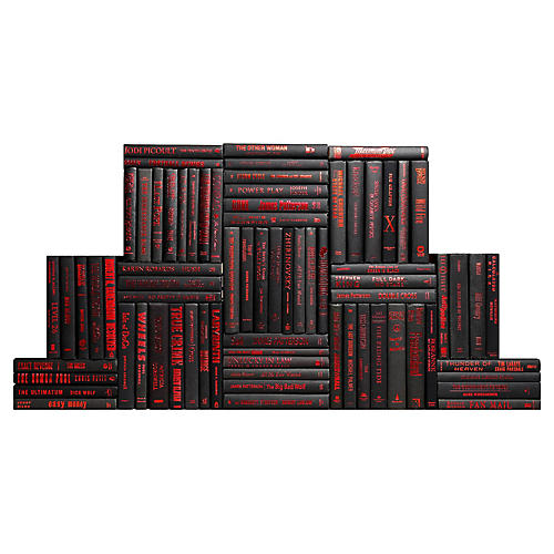 Black & Red Accent Book Wall, S/75