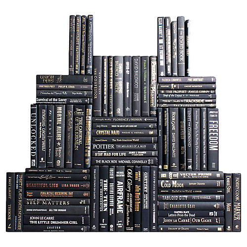 Black & Blended Accents Book Wall, S/75