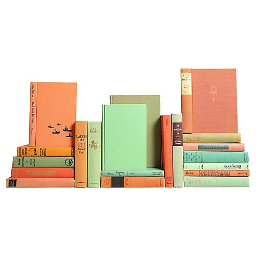 Vintage Book Decor: Orange & Green, S/20