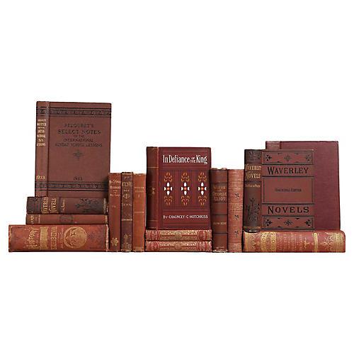 Distressed Antique Books in Wine, S/15
