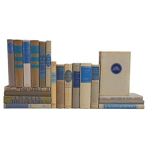 Midcentury Book Set: Khaki & Blue, S/20