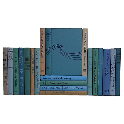 Midcentury Blue/Green/Tan Novels, S/20
