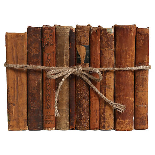 Weathered Leather Antique Books, S/10