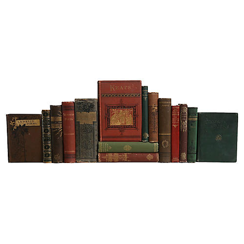 Antique Poetry Book Set, S/15