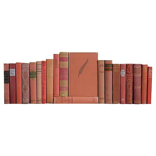 Vintage Book Set in Rose, S/20