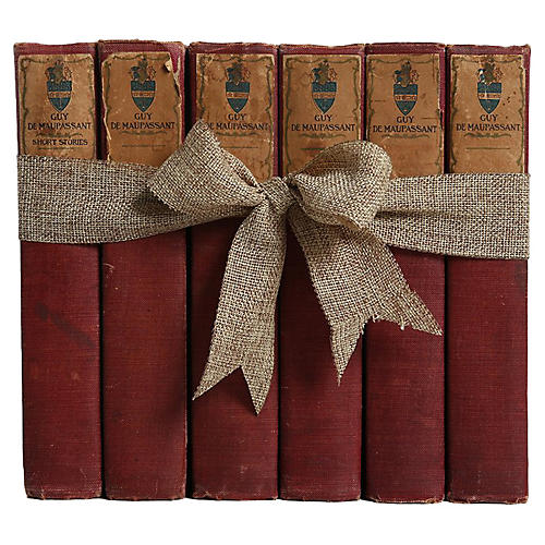 Antique Book Set: De Maupassant, S/6