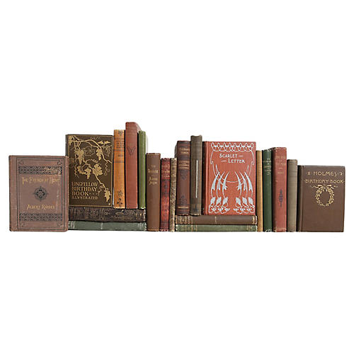 Antique Pocket-Sized Book Set, S/20