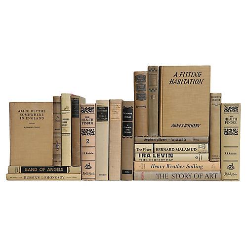 Midcentury Book Set: Khaki & Black, S/20