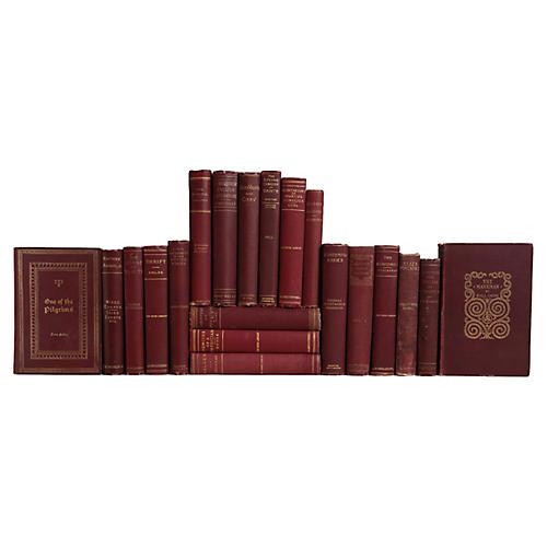 Antique Merlot & Gilt Book Set, S/20