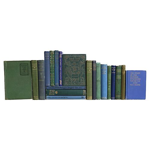 Pocket-Sized Blue & Green Book Set, S/20