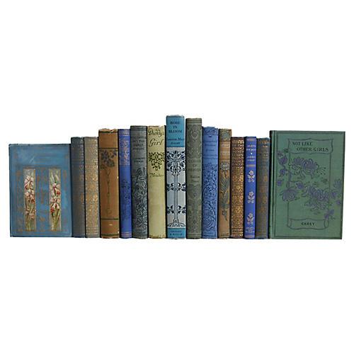 Floral Motif Book Set: Blue/Green, S/15
