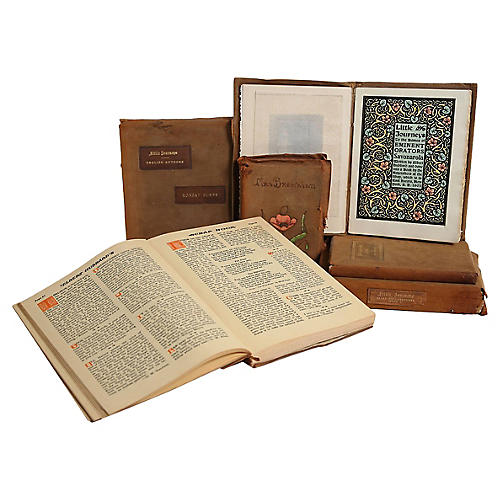 Weathered Suede Antique Book Set, S/6