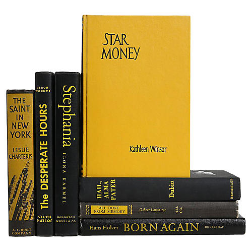 Vintage Book Set: Yellow & Black, S/7
