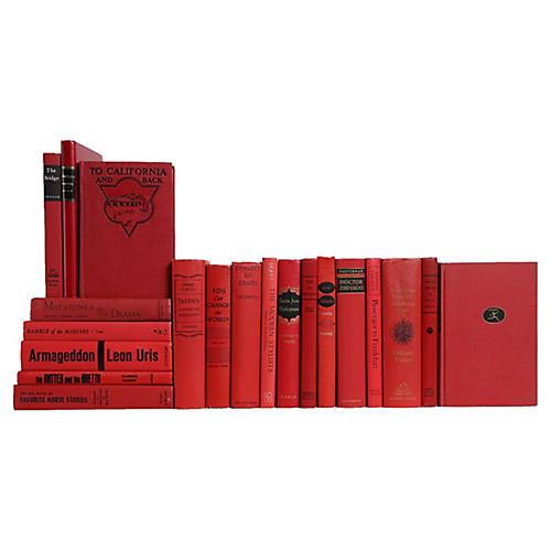 Midcentury Scarlet Book Set, S/20