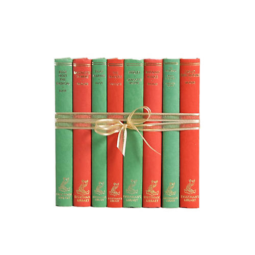 Vintage Book Gift Set: Red & Green, S/8