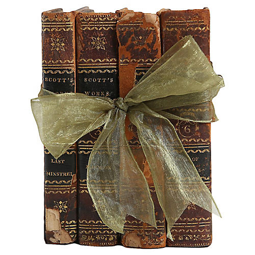 Distressed Leather Books, S/4