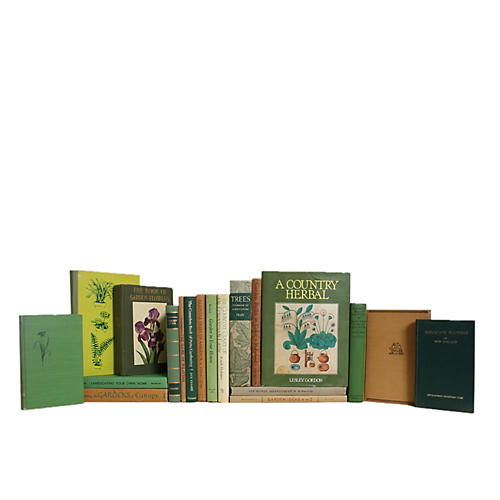 Green And Tan Gardening Book Set, S/20