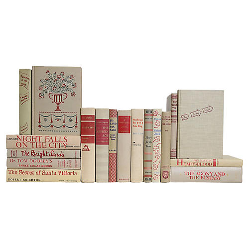 Midcentury Crimson Flax Book Set, S/18