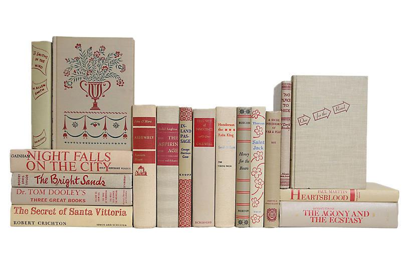 Midcentury Crimson Flax Book Set, S/18