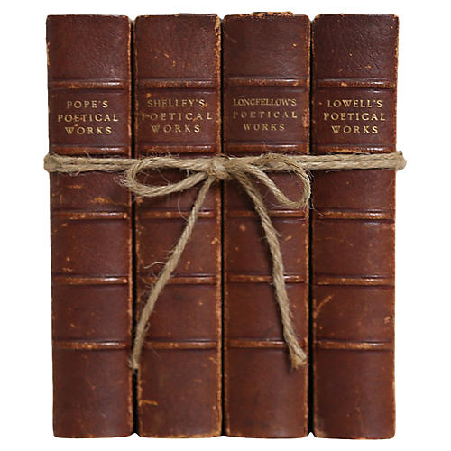 Leather Poetry Books, S/4