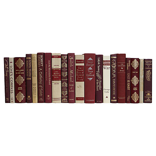 Crimson Linen & Gilt Book Set