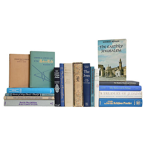 Ecru and Sapphire Jewish Life Book Set