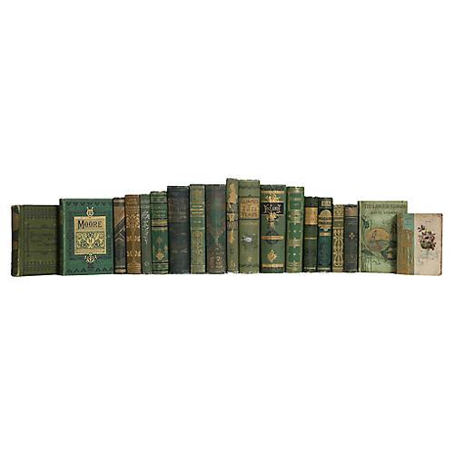 Antique Emerald Gold Book Set, (S/20)