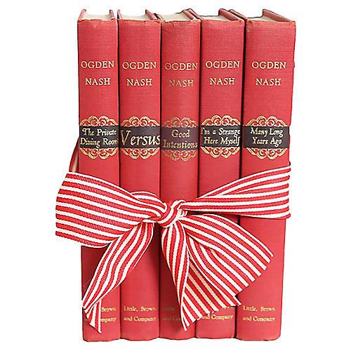Vintage Ogden Nash Red Poetry Book Set