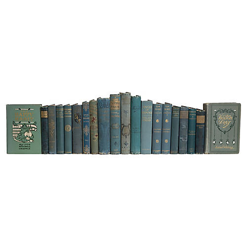 Antique Weathered Teal Book Set, (S/20)