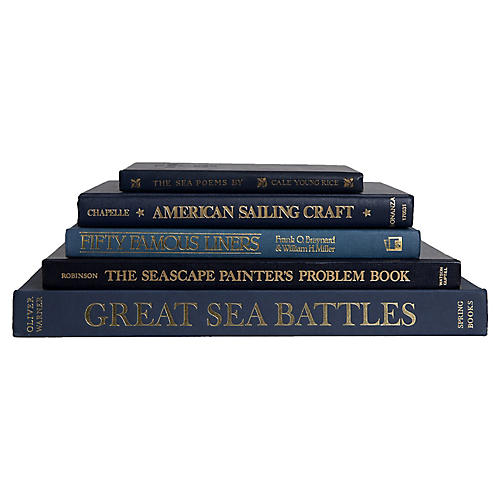 Navy Nautical Coffee Table Set, S/5