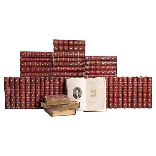 Antique Red Leather Poets Book Set, S/52
