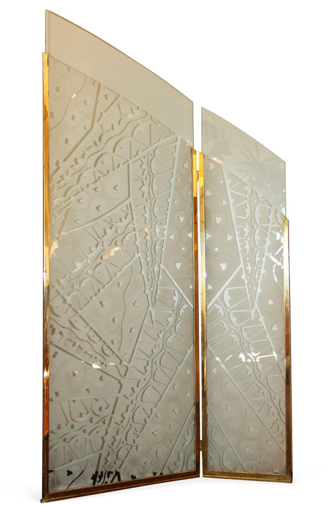 Ruhlmann-Style Etched Glass Screen 1970