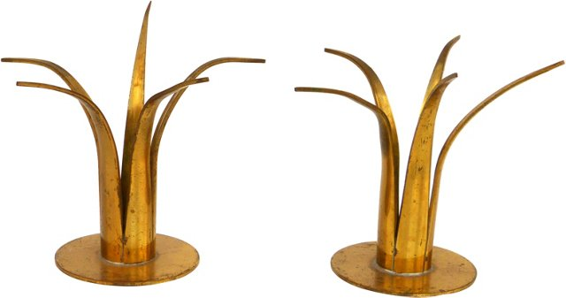 Ystad Brass Candlesticks, Pair