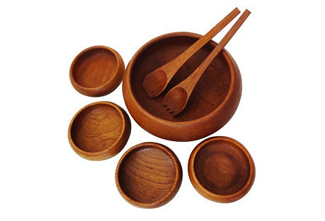 Teak Salad Bowl Set, 7 pcs.